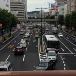 岡山市で6番目に古い幸陸橋から最も新しい陸橋を眺める